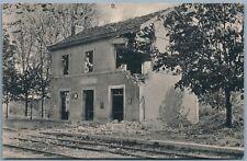GERMAN WWI MILITARY FELDPOSTKARTE ANTIQUE POSTCARD DESTROYED BUILDING & RAILROAD