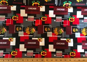 "NEW NHL CHICAGO BLACKHAWKS COTTON Fabric 1/4yard=9""x44"" BLACK RED BLOCK DIY MASK"