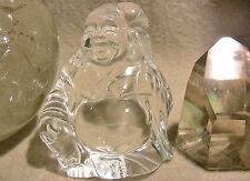 Brazilian WATER CLEAR Quartz BUDDHA Carrying a Lotus ART SCULPTURE rare crystal