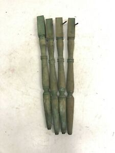 4 Vintage WOOD TABLE LEGS Green Painted wooden country primitive farm set shabby