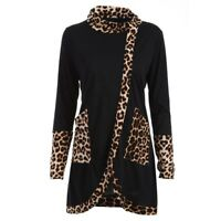 Women Casual Leopard Print Cowl Neck Long Sleeve Patchwork Shirt Tops Blouse A8