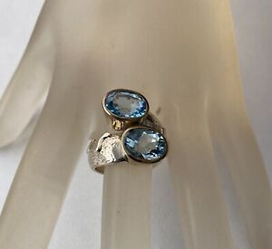 Vintage Handmade Sterling Silver And Blue Topaz Ring