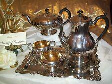 Silver Plated Coffee Teapot Cream & Sugar Bowl Tray 5 Piece Set Marlboro Coronet