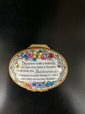 """New ListingHalcyon Days English Enamels """"Happiness Is Like a Butterfly"""" Trinket Box"""