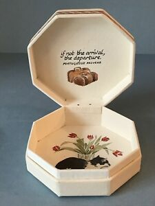 Vintage Catriona Stewart Trinket Box Cat Tulips England House Guests Proverb