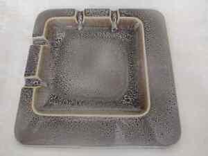 Vintage Rookwood Pottery large square ish gray muted glazed ashtray.