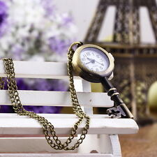 Retro Vintage Pocket Key-shaped Watch Necklace Wall Chart Pendant H2