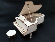 Laser Cut Wooden Grand Piano 3D Model/Puzzle Kit