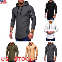 US Mens Slim Fit Hooded Hoddie Long Sleeve Muscle Tops Sport Gym Shirts T-shirt