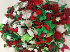 250+ Satin Ribbon Roses and Bows Applique Trim Sewing Bow Craft- Christmas