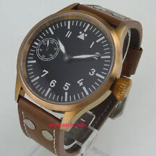 44mm corgeut black dial bronze plated case sapphire 6497 hand winding men watch