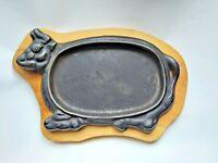 Vintage Cast Iron Cow Steak Sizzler Plate C/W Wood Holder