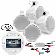 "Wake Board Marine 8"" Speakers,Amplifier,Bluetooth AUX AM FM Boat Radio & Antenna"