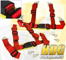 "FOR FORD 2"" 4PT SHOULDER STRAP SEAT BELT QUICK RELEASE HARNESSES PERFORMANCE RED"