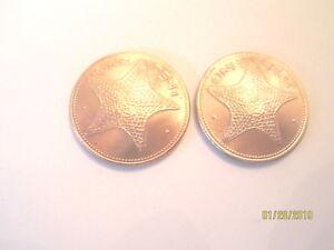 Bahamas Golden starfish coin cuff links