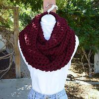Large Wide Dark Burgundy Red Infinity Cowl Scarf Chunky Crochet Knit Winter, Big