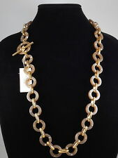 Kate Spade Gold Plated OUT OF HER SHELL Horn Ring Crystal Toggle Necklace $178