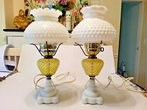 Pair of VIntage Fenton Yellow Hobnail Lamps - with Milk Glass Base and Top