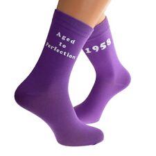 Aged to Perfection 1958 Printed Design Ladies PURPLE Socks 60th Birthday