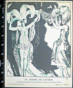 Gazette du bon ton,Art deco pochoir print,Drian,La Mariee de L'Avenir1921 #13