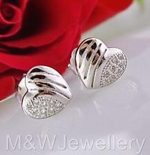 Solid 925 Sterling Silver Rhodium Plated Studs Earrings HEART cubic Zirconia