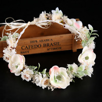 Bridal Beach Wedding Flower Hair Garland Crown Headband Floral Wreath Hairband
