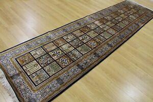 Oriental Persian Hand Knotted Silk Hallway Rug Carpet Runner Floor 310 x78 cm
