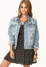 FOREVER 21 GRAFFITI FREEDOM RULES STUDDED GRAPHIC DENIM JEAN JACKET~SMALL~RARE!
