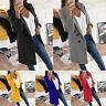Plus Size Women's Long Blazer Slim Top Casual Career Formal Outwear Jacket Coat