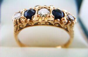 Beautiful 18ct Gold Sapphire & Diamond Victorian Style Gypsy Ring London 1979