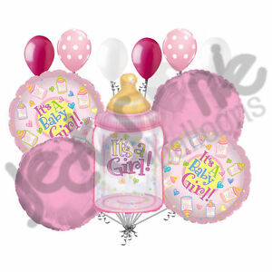 11 pc Its a Girl Baby Bottle Balloon Bouquet Decoration Welcome Home Shower Pink