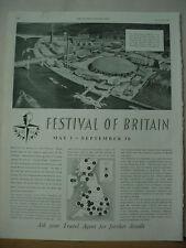 1951 Britan Travel Ad Festival of Britain London Vintage Print Ad 10180