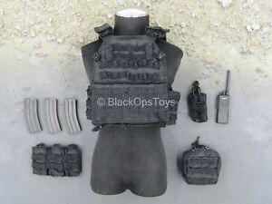 1/6 Scale Toy Secret Service Agent - Mark - Black MOLLE Plate Carrier Vest Set