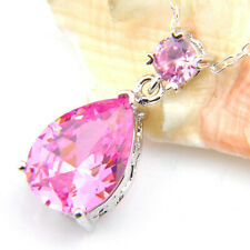 Teradrop Wedding Gift Natural Pink Topaz Gems Silver Necklace Pendant With Chain