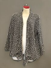 Alfred Dunner Large Black White Speckle Cardigan Open Front See Through Knit EUC