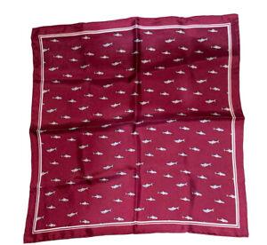 NEW Dark Burgundy Novelty SILK Handkerchief / Pocket Square - Sharks!