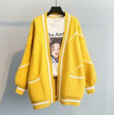 Korean Womens Thicken Knitted Cardigan Loose Puff Sleeve Casual Coat Free Size