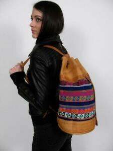 LARGE BACKPACK HAND WOVEN WOOL KILIM TOOLED LEATHER VTG SLING PURSE TOTE BAG