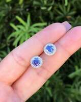 1.25Ct Round Cut Tanzanite 14K White Gold Finish Women's Halo Stud Earrings