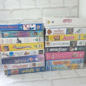 VHS Childrens Bundle ×17 PAL Shrek Inspector Gadget Disney PG / U Barney Grease