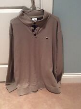 Men's Lacoste Long Sleeve 1/2 Button Down Brown Size 8