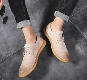 Mens Spring Breathable Retro Wild New Suede Lace Up Wing Tip Carved Brogue Shoes