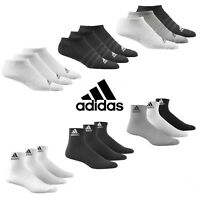 Adidas Socks 3 Pairs Mens Womens Ankle Liner Quarter Cotton Sports Sizes UK 2-14