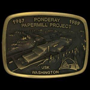 Vtg Ponderay Paper Mill Project Newsprint Usk Washington Brass NOS Belt Buckle
