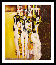 Beethoven Frieze by Gustav Klimt 75cm x 63cm Framed Black