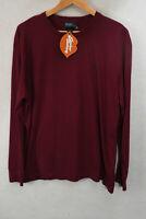 RALPH LAUREN Mens T Shirt ATHLETIC SPORT Long Sleeve BURGUNDY Medium P97