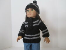 """Black and grey sweater and hat for 18"""" doll"""