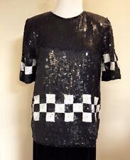 Rina Z Womens Vintage Sequin Beaded Top Sz. Sm Black/White Short Sleeve NOS