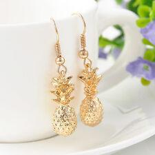 Fashion Women Cute Pineapple Design Fruit Gold Hawaiian Dangle Earring Hook Gift