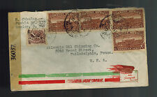 1944 Puebla Mexico censored Airmail cover to USA Atlantic Oil Shipping